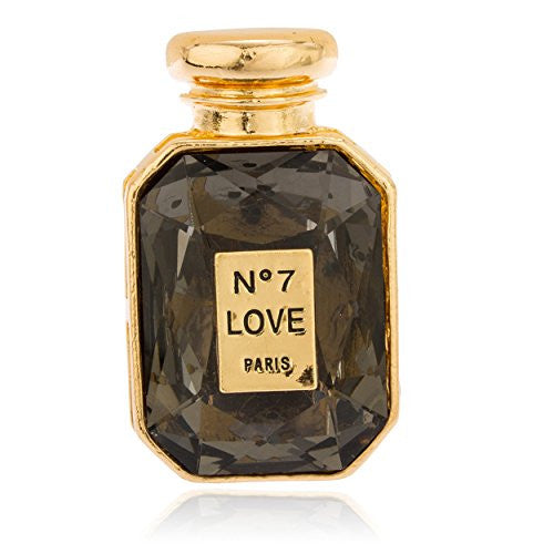 Goldtone with Black Stone No7 Love Potion Perfume Bottle Adjustable Ring