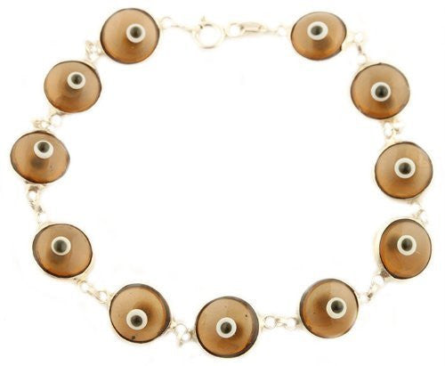 Silver with Light Brown 925 Sterling Silver 7 Inch Evil Eye Bracelet