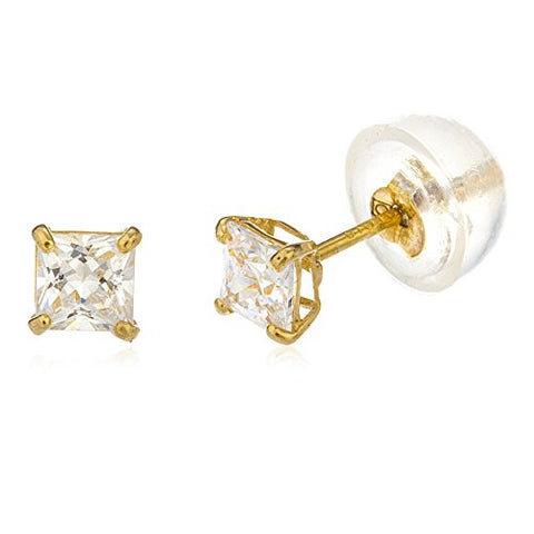 10k Yellow Gold Square Basket Setting CZ Stud Earrings with Silicone Back - All Sizes Available