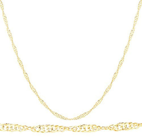 10k Yellow Gold 1.5mm Singapore Chain Necklace 18-24inch