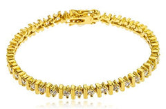 Goldtone Brass 7.5 Inch Bar Design Tennis Bracelet with Cz Stones