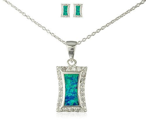 925 Sterling Silver Rectangular Created Opal Necklace with Matching Earrings Jewelry Set (Turquoise)