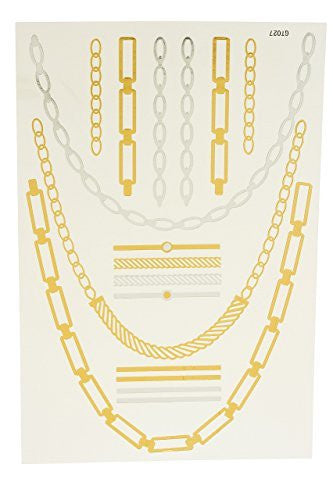 Metallic Temporary Tattoos Multi Chain Set...