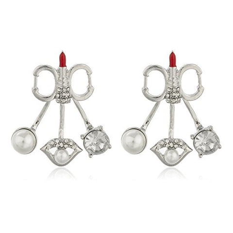 Silvertone with Clear Stones Red Lipstick and Simulated Pearls Multi Charm Stud Earrings