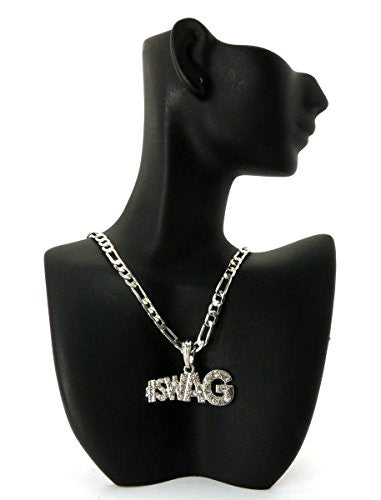 Small Silvertone #Swag Pendant with Rhinestones...