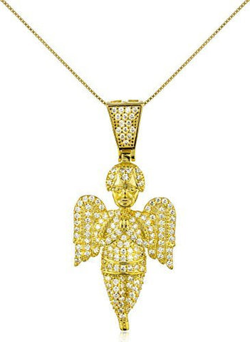 925 Sterling Silver Iced Out Angel Pendant with a 24 Inch 925 Box Chain Necklace