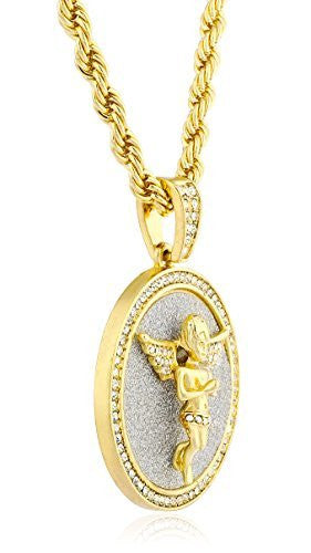 Goldtone Round Praying Angel Pendant with...