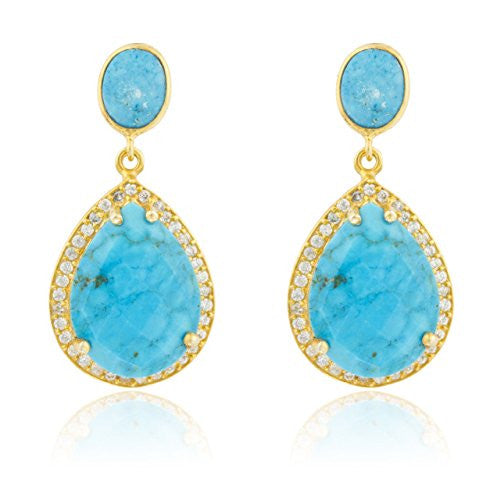 925 Sterling Silver Goldtone Simulated Turquoise...