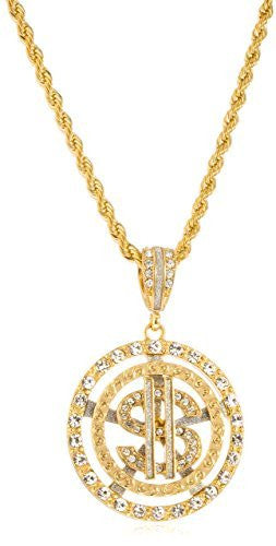 Goldtone Iced Out Dollar Sign Within Round Pattern Pendant 5mm 30 Inch Rope Chain Necklace
