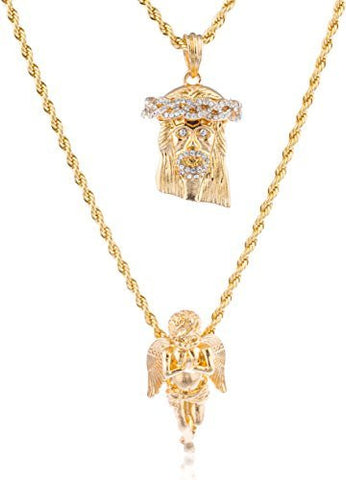 "Goldtone Layered Jesus Piece and Angel Pendants with a 24"" & 30"" Rope Necklace"