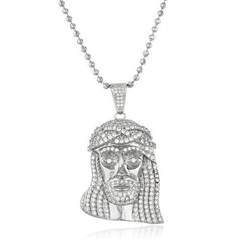 925 Sterling Silver Cz Iced Out Jesus Piece Face Pendant 3mm Moon Cut Brass Necklace