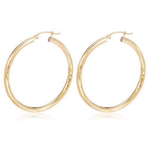 Pair of 14K Yellow Gold 3mm with Elegant Design Hoop Earrings 20mm