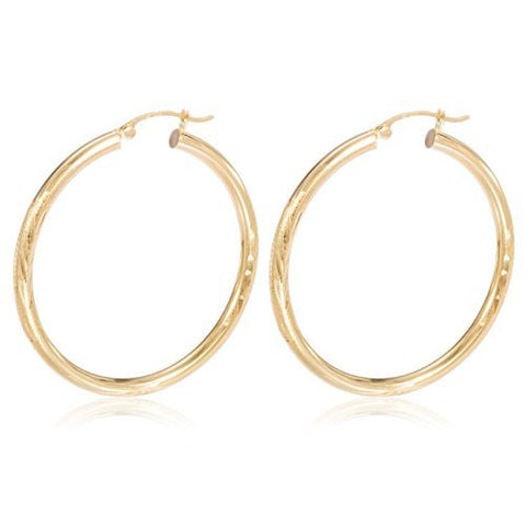 Pair of 14K Yellow Gold Hoop Earrings 3mm .75 Inch (20mm) with Elegant Design