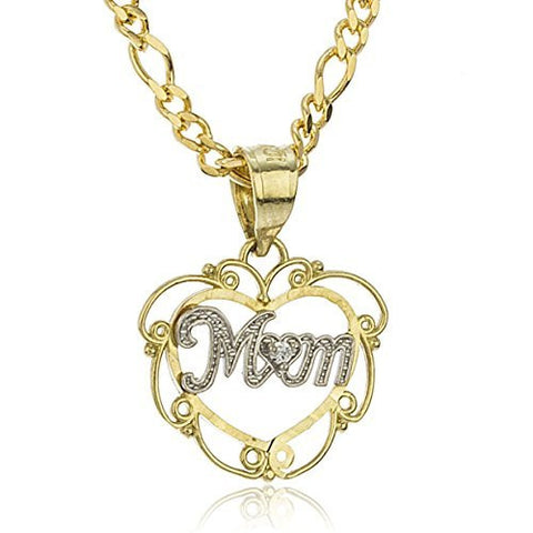 10K Gold Layered Figaro Necklace 18inch with Two Tone 'Love Mom' Heart Pendant