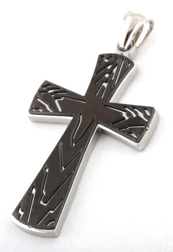 Silver with Black Ripples Cross Stainless...