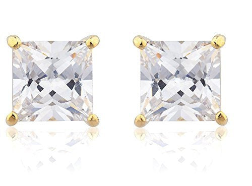 Magnetic Earrings Goldtone with Clear Cz...