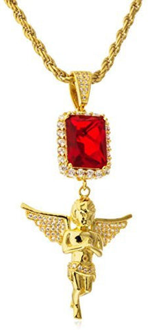 925 Sterling Silver Simulated Red Gemstone with Angel Pendant and a 3mm 24 Inch Rope Chain