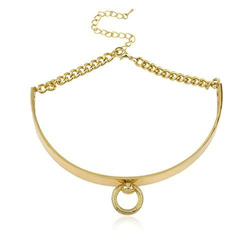 Goldtone Metal Bar Choker with Ring Pendant and Adjustable Closer