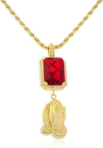 Men's 925 Sterling Silver Simulated Red Gemstone with Praying Hands Pendant and a 3mm 24 Rope Chain