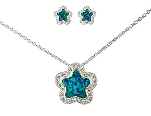 925 Sterling Silver Turquoise Created Opal Star Necklace with Matching Stud Earrings Jewelry Set