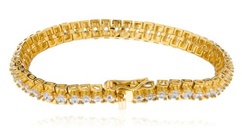 Women's Gold Plated 7.5 Inch Elegant Box Design Tennis Bracelet with Cz Stones