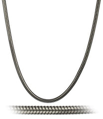 925 Sterling Silver Plated Hematite 3mm Snake Chain
