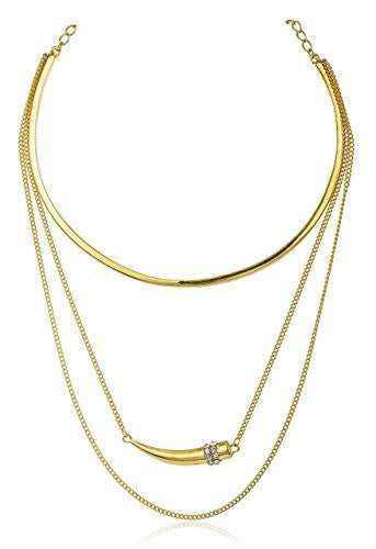 Goldtone Adjustable Choker Necklace and Layered Link with Horn Pendant
