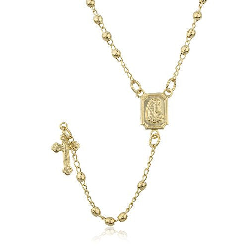 Two Year Warranty Gold Overlay Rosary Cross Pendant and Virgin Mary Charm with a 17 Inch Necklace