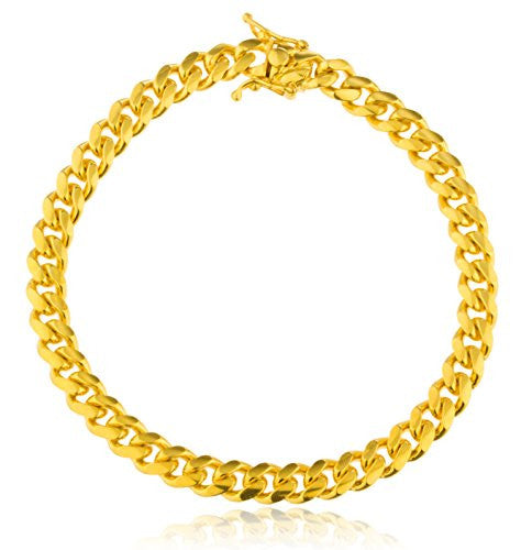 Sterling Silver Goldtone 10.4mm Miami Cuban...