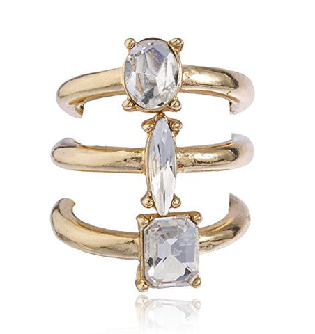 Goldtone Clear Oval, Round, Square 3 Pair Midi Ring