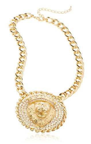 Goldtone Iced Out Round Lion Head Pendant with a 17 Inch Adjustable Miami Cuban Necklace