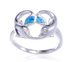 925 Sterling Silver Created Opal Blue Dolphin Heart Design Ring (7)
