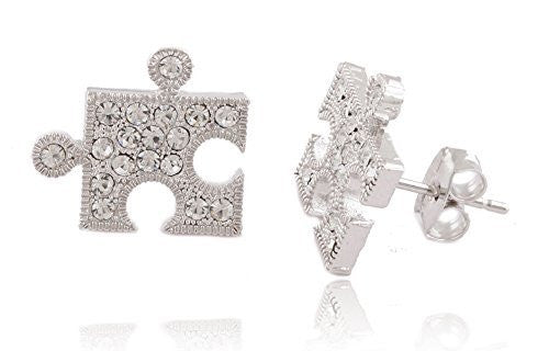 Silvertone Iced Out Puzzle Piece Stud...