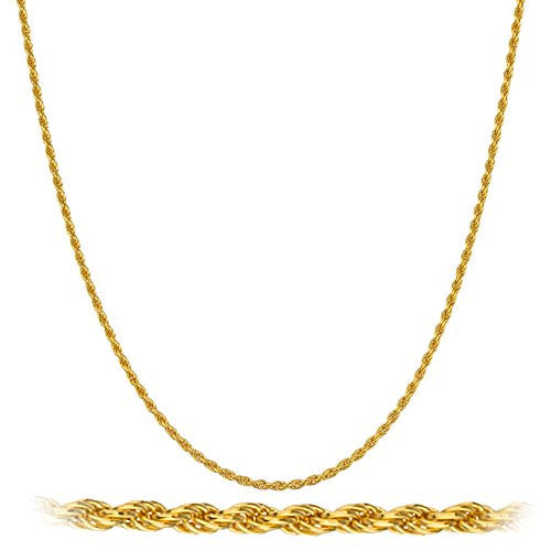 925 Sterling Silver Goldtone 1.5mm 20 Inch Rope Chain Necklace
