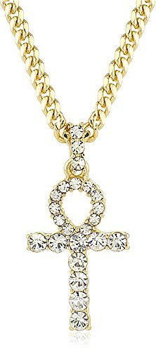 Goldtone Ankh Cross Micro Pendant with a 24 Inch Cuban Chain Necklace