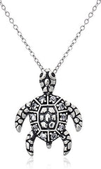 925 Sterling Silver Sea Turtle Pendant with an 18 Inch Rolo Necklace