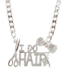 Silvertone Bow Tie and I Do Hair Pendant with a 22 Inch Adjustable Link Necklace