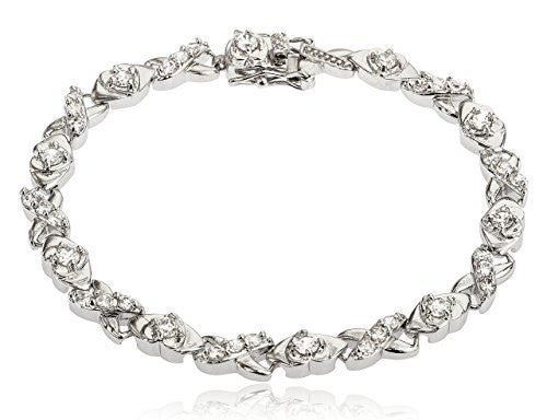 "Silvertone Brass 7.5 Inch ""Xoxo"" Design Tennis Bracelet with Cz Stones"