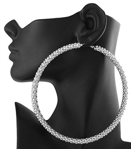 Silvertone Mesh Pattern Large 4 Inch Hoop Earrings