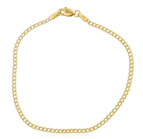 14K Yellow Gold Bracelet 2mm Pave Cuban Curb, 7 Inch
