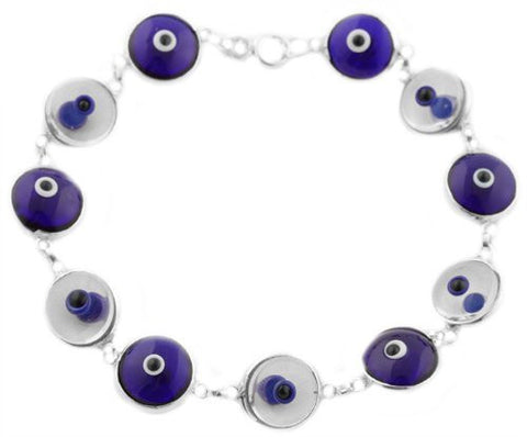 Silver with Alternating Blue & Clear Real 925 Sterling Silver 7 Inch Evil Eye Bracelet