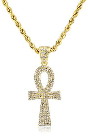Iced Out Ankh Cross Pendant with a 30 Inch Rope Chain Necklace
