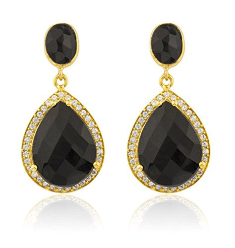 925 Sterling Silver Goldtone Simulated Onyx...