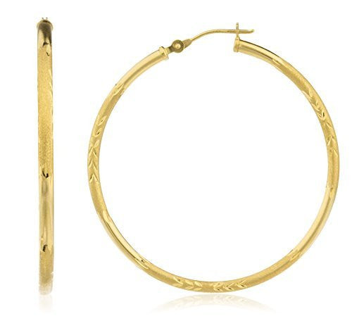 14k Yellow Gold 2mm Frosted D-cut Click Hoop Earrings 16mm - 40mm