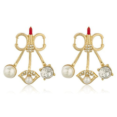 Goldtone with Clear Stones Red Lipstick and Simulated Pearls Multi Charm Stud Earrings