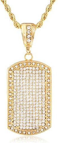 Silvertone Fully Iced Out Large Dog Tag Pendant with a 5mm 36 inch Rope Chain