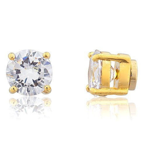 Goldtone Magnetic Earrings with Clear Cz...