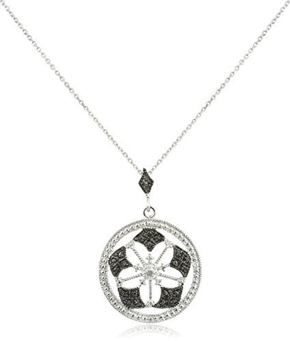 925 Sterling Silver with Diamond Accent Flower Pendant on an 18 Inch Necklace