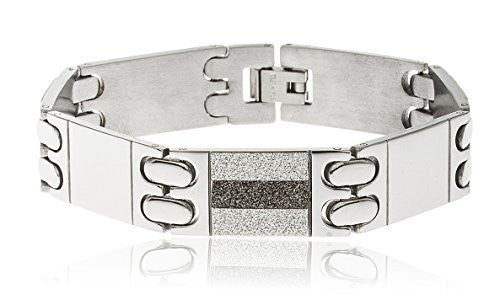 Men's Stainless Steel Sandblast 8 Inch Alternating Two Tone Designer Bracelet with Snap Clasp (Silvertone)