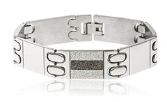 Men's Stainless Steel Sandblast 8 Inch Alternating Two Tone Designer Bracelet with Snap Clasp (Goldtone)